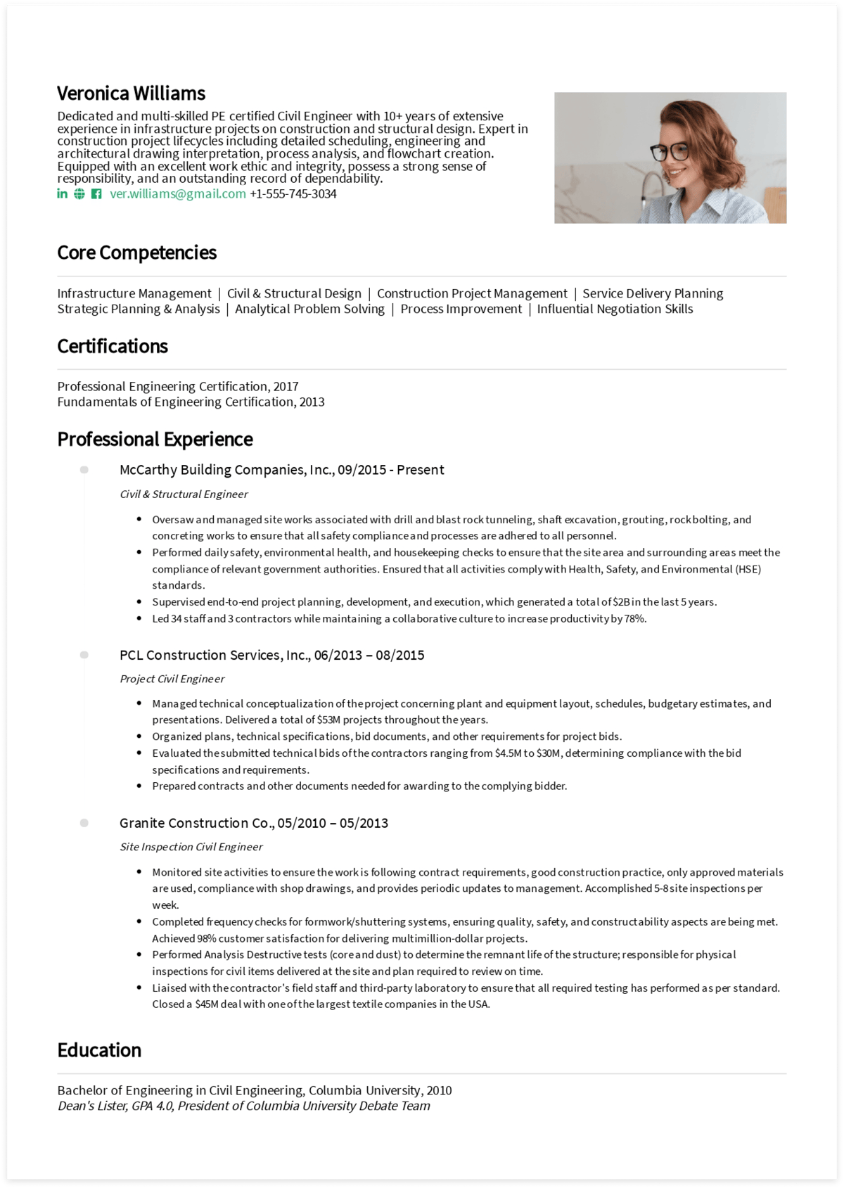 Click to download Veronica's civil engineer resume! Generated via CakeResume.