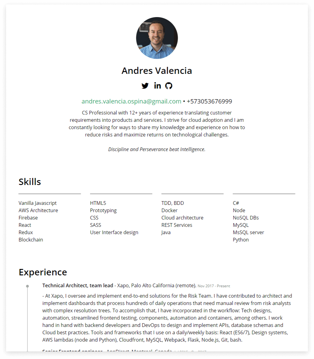 frontend resume