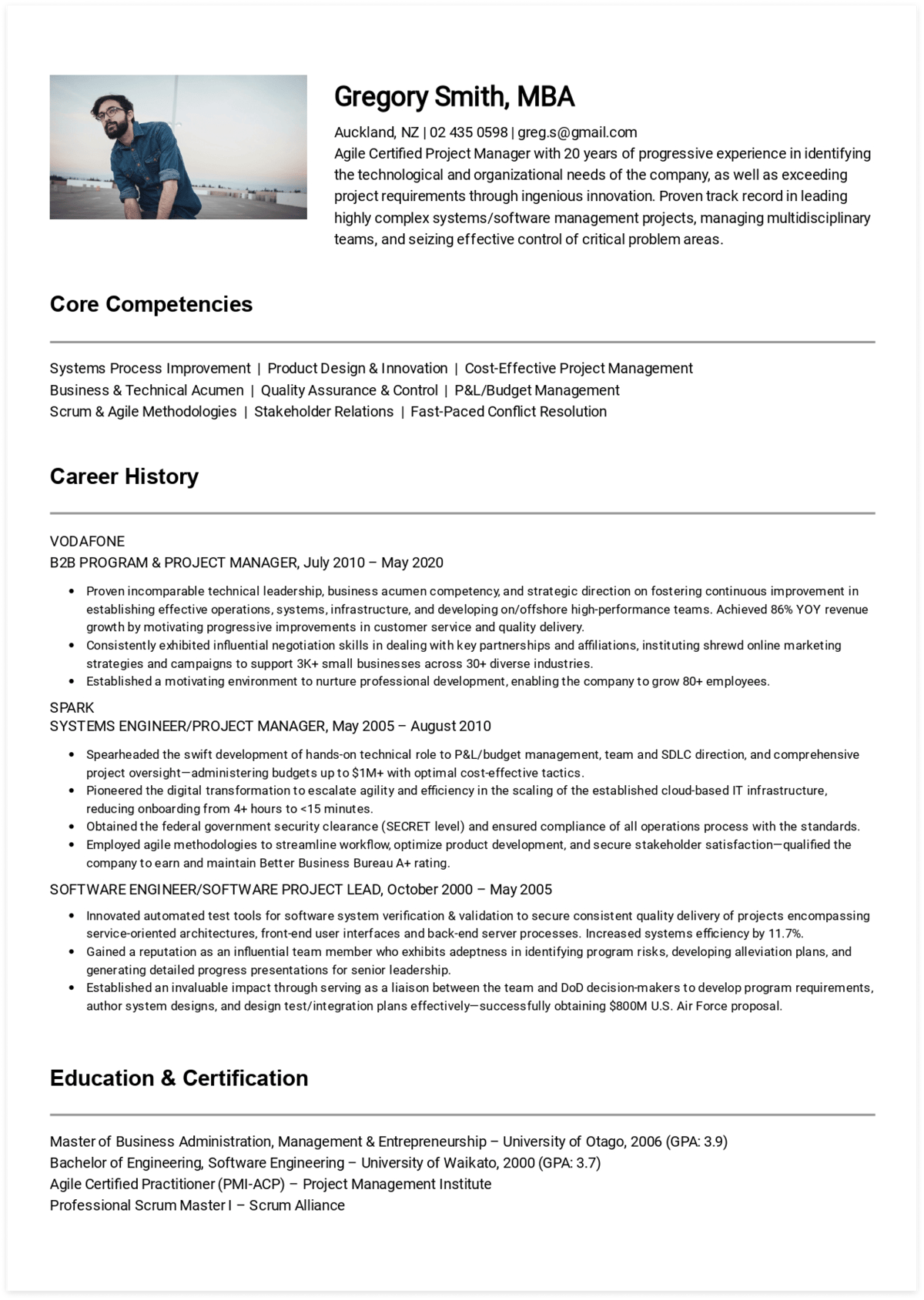 Click to download Gregory's Project Manager resume. Generated via CakeResume.