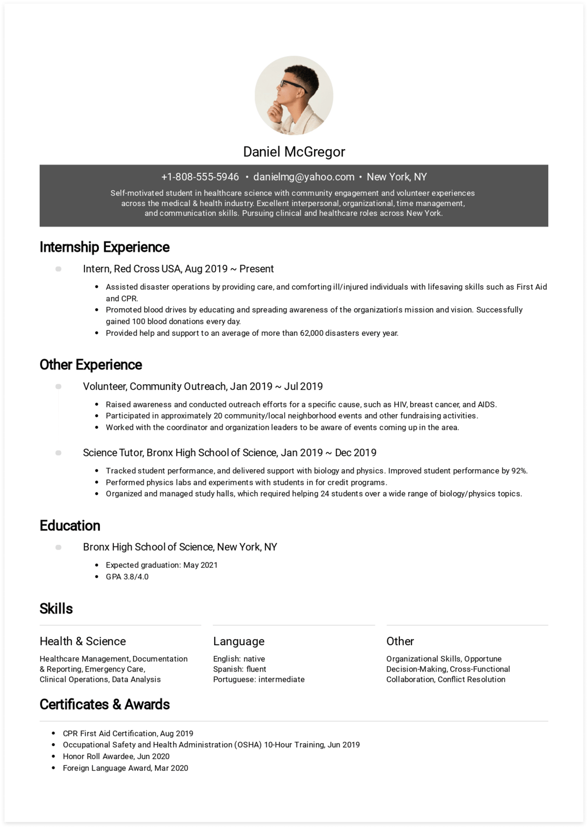 Click to download Daniel's high school student resume! Generated via CakeResume.