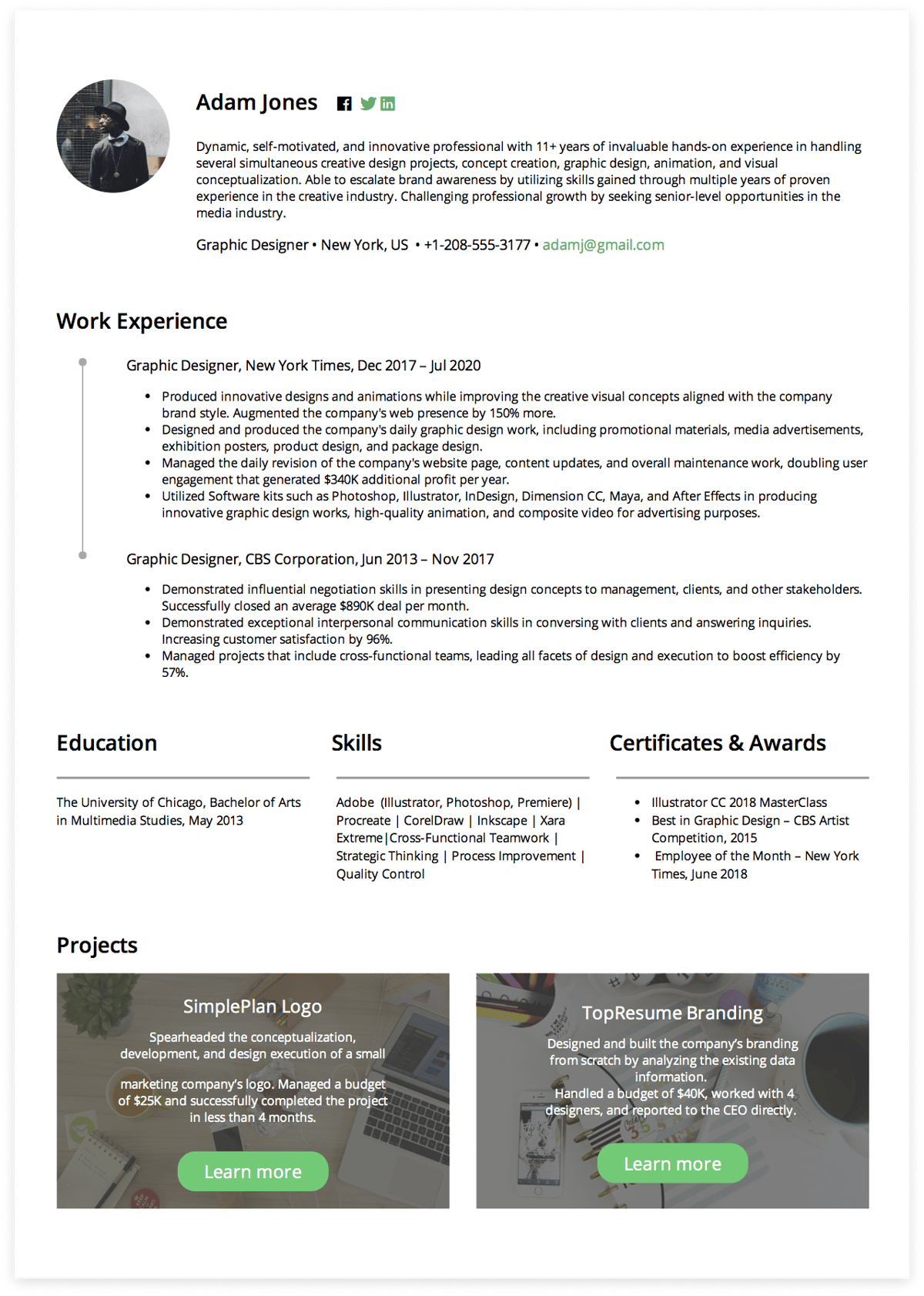 Click to download Graphic Designer resume example! Generated via CakeResume.