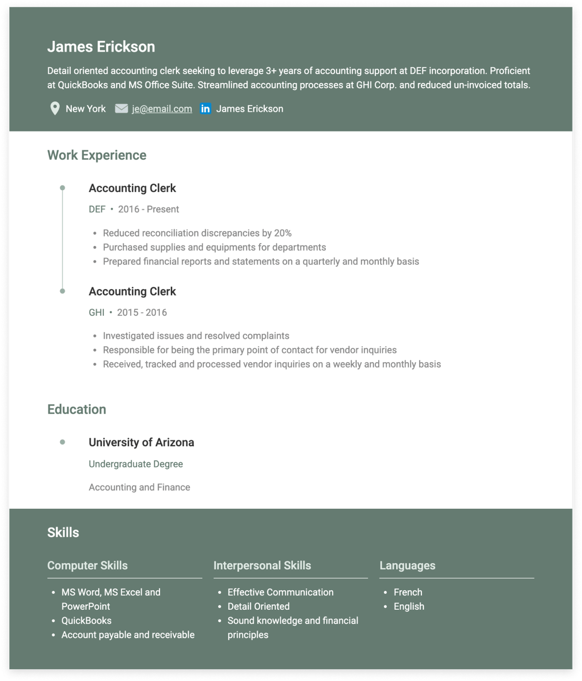 accounting clerk resume examples and templates