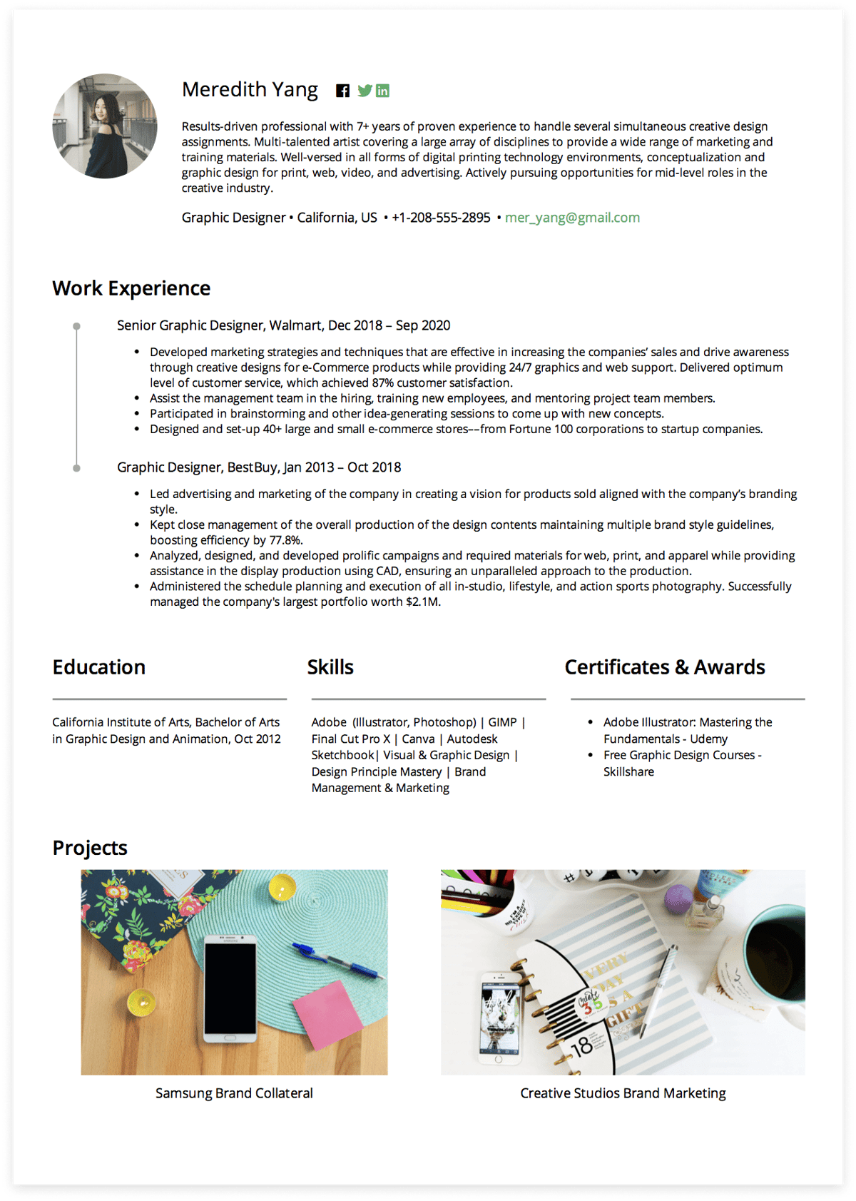Click to download Meredith's Graphic Designer resume. Generated via CakeResume.
