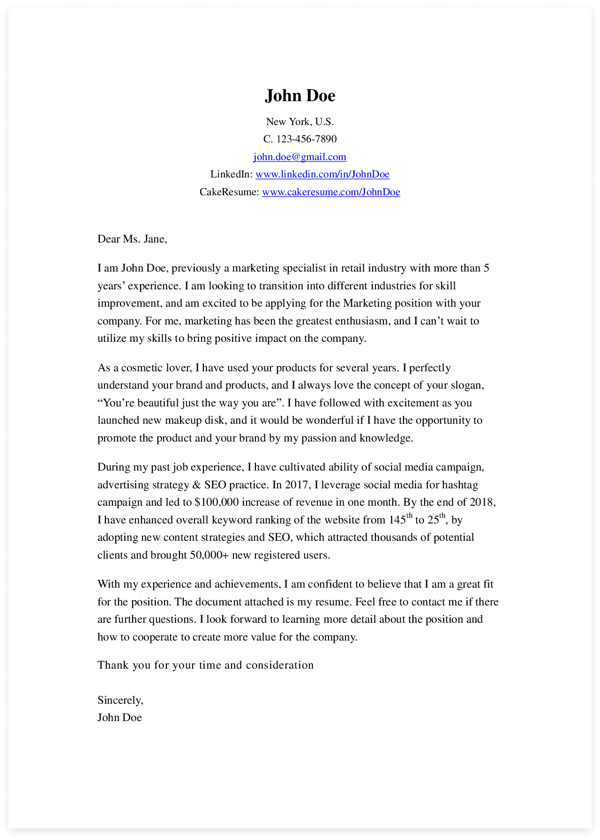 Good Cover Letter Example from www.cakeresume.com